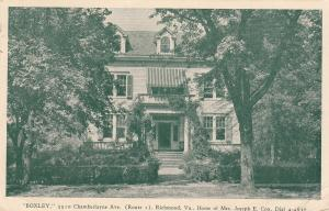 RICHMOND , Virginia , PU-1945; BOXLEY, Home of Mrs. Joseph E. Cox