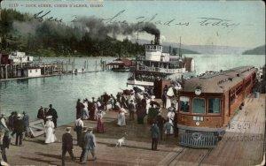 Coeur D'Alene ID RR Train on Dock & Steamer c1910 Postcard