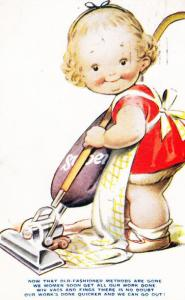 Child Hoover Hoovering Bag Getting Womens Work Done Songcard Humour Postcard