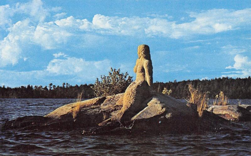 International Falls Minnesota~Rainy Lake Mermaid Statue on Rocks~1960s Postcard