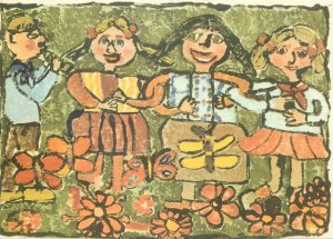 hildren drawing painting Postcard Uta Mahnke 10 years