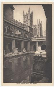 Somerset; Bath, Roman Baths & Abbey PPC By The Pump Room, Unposted, c 1930's
