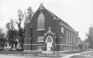 Rock Rapids Iowa~Christian Church Faces the West~Cross Over the Door RPPC c1910