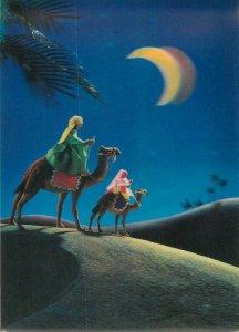 lenticular stereo 3D postcard Holy Family moonlight