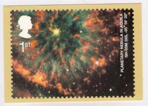 Planetary Nebula in Aquila postcard of postage Stamp, UK, 2002