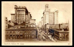 dc1455 - VANCOUVER BC Postcard 1920s Granville Street. Trams