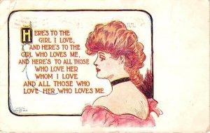 Artist Signed Girl I Love 1908