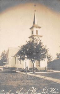 D99/ Minnesota Lake Mn Real Photo RPPC Postcard c1910 Lutheran Church