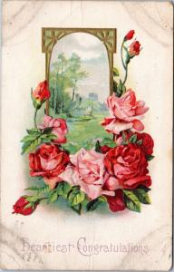 Heartiest Congratulations - flowers and window - posted 1912