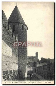 Old Postcard Cite Carcassonne The Tower of Justice