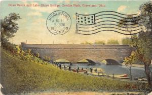 Cleveland Ohio~Gordon Park-Doan Brook & Lake Shore Bridge~Men by Boats~1909 Pc