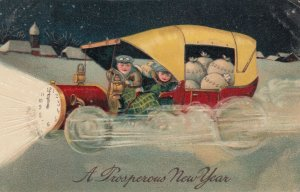 NEW YEAR, 1900-10s ; Kids in an Car full of Money in snow # 4 , PFB 9501