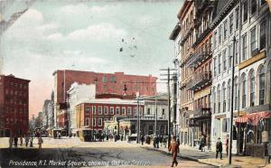 Providence Rhode Island~Market Square Street Scene~Storess-People-Trolley~1911