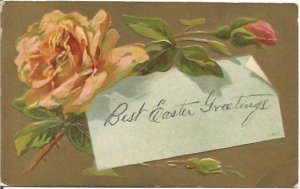 Single Peach Rose over Note Easter Greetings 1909 Railroad Postage 1 Cent Canada