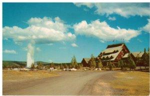 Postcard - Old Faithful Inn, Yellowstone Park's Hotel by Old Faithful Geyser