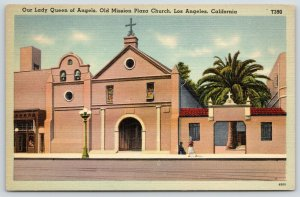 Los Angeles CA~Old Mission Plaza Church~Queen of Angels~Bum in Corner~1940 Linen