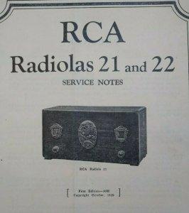 RCA Radiolas 21 and 22 Vintage Original Service Notes Manual Radio Victor 1929