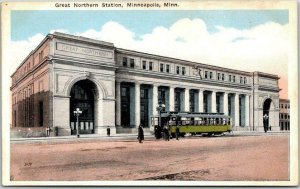 1920s MINNEAPOLIS, Minnesota Postcard Great Northern Station Traction Trolley