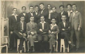 Photo postcard social history men boys group foto