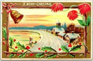 Vintage A MERRY CHRISTMAS Embossed Postcard Winter Town / Church Scene c1910s
