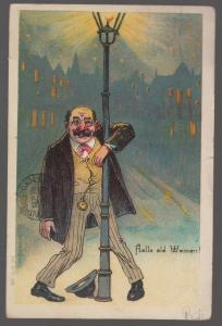 1905 USA postcard Cover to Canada Hallo Old Women Drunken man Street Light