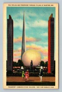 1939 New York World's Fair - Trylon & Perisphere, Pylons of Maritime Postcard