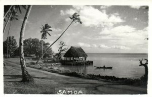 PC CPA SAMOA, PACIFIC, BEACH SCENE AND PALM TREES, Vintage Postcard (b19444)