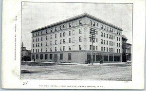 Cedar Rapids, Iowa Postcard ALLISON HOTEL First Avenue Street View c1900s UNUSED