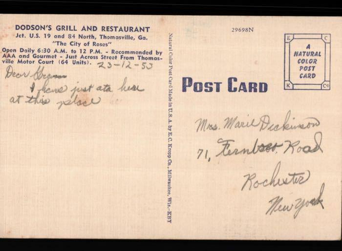 Thomasville GA Dodson's Grill Restaurant Old Cars Rochester NY Postcard B02