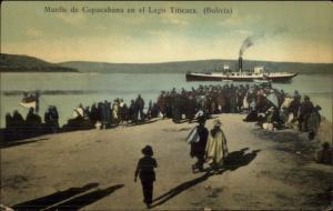 Muelle de Copacabana en el Lago Titicaca Bolivia Steamer Boat Used Postcard