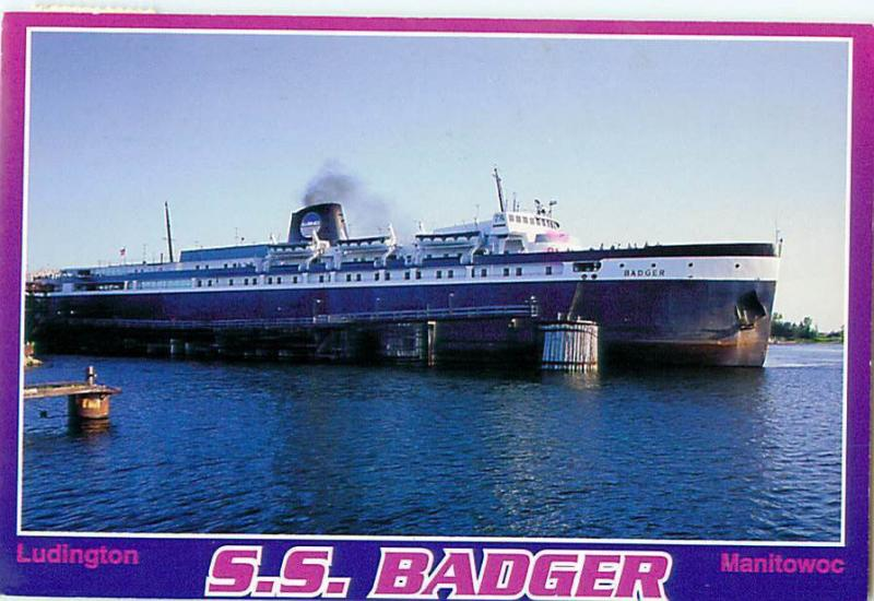 SS Badger Ludington Manitowoc Steamer 43 1952 Christy Corp   Postcard  # 6951