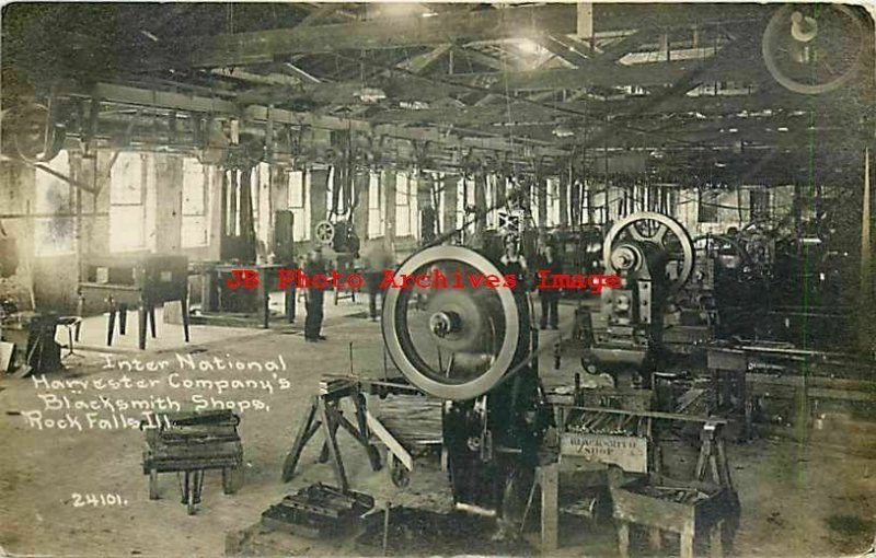 IL, Rock Falls, Illinois, RPPC, International Harvester, Blacksmith Shops,Childs