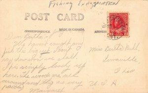 LPS70 Bobcaygeon Ontario ONT Canada Three Men Fishing Exaggeration Postcard