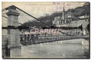 Old Postcard Suspension Bridge and St. Mary of & # 39En Top Grenoble