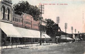 E38/ St Louis Michigan Mi Postcard 1911 Mill Street Stores East Side