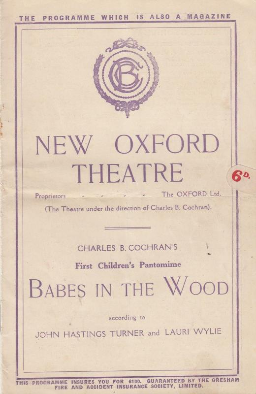 Dolly Sisters Babes In The Wood Pantomime London Oxford Old Theatre Programme