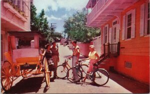Nassau Bahamas Bicycling Carriage Cunard Line Advert Unused Litho Postcard F52