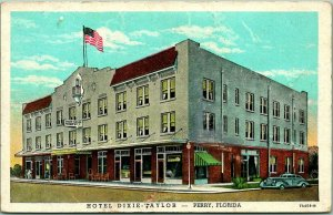 Vintage 1930s PERRY Florida Postcard HOTEL DIXIE-TAYLOR Street View Linen Unused