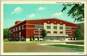 Arkansas City, Kansas Postcard Auditorium Street View Curteich Linen c1940s
