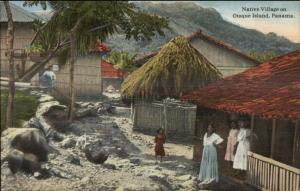 Panama - Natives Thatch Roof Homes Otoque Island c1910 Postcard