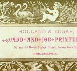 1870's Holland & Edgar Printers Card & Job Swans Pulling Cherub On Seashell P168