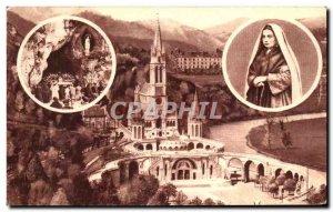 Old Postcard Lourdes Basilica In medallions St. Bernadette LA Cave