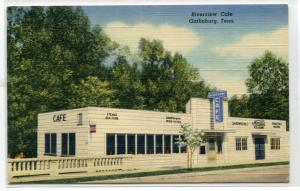Riverview Cafe Gatlinburg Tennessee linen postcard