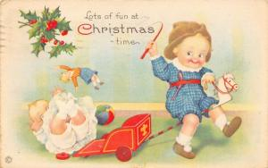 Christmas~Toddler Boy Rides Stick Horse~Spills Baby Off Red Wagon~1920~744 A