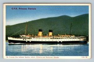 Victoria BC CPR Princess Patricia, Vintage British Columbia Canada Postcard
