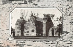 LPV10 Saxton's River Vermont Postcard Vermont Academy Main Bldg Birchwood Border