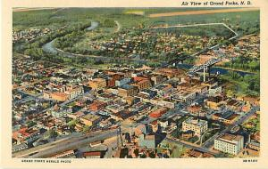 Air View of Grand Forks ND North Dakota Linen
