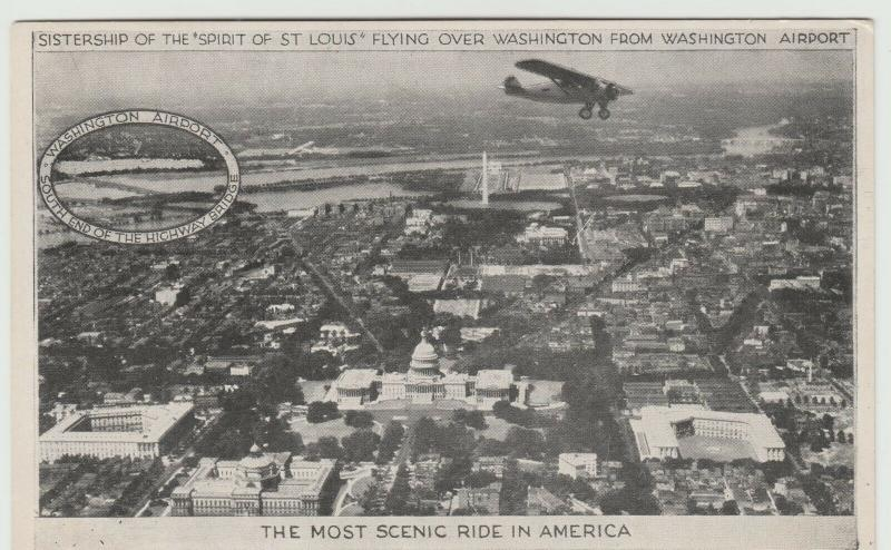 Charles Lindbergh Spirit St Louis over DC airplane aviation Postcard 1928