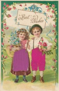 BEST WISHES, Children with flowers and sign, Silk skirt and trousers, PU-1909