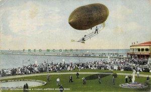 1916 Rochester New York Postcard: Balloon Returns to Ontario Beach Park